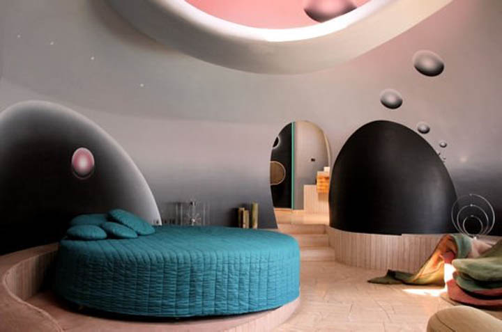Interior design of a bedroom at the palais bulles, palace of bubbles Pierre Cardin house by antti lovag in Cannes