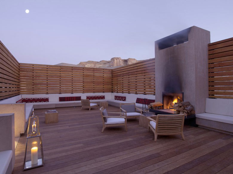Patio area of the Amangiri Luxury Hotel Resort in Canyon Point Utah
