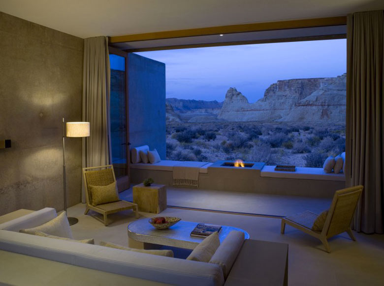 Lounge with a view of the outside at the Amangiri Luxury Hotel Resort in Canyon Point Utah