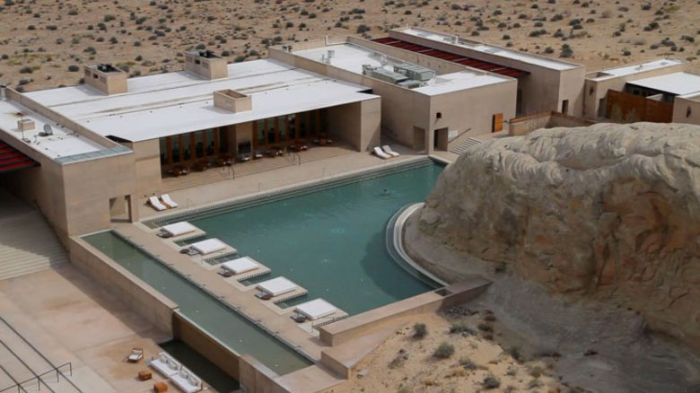 Swimming pool at the Amangiri Luxury Hotel Resort in Canyon Point Utah