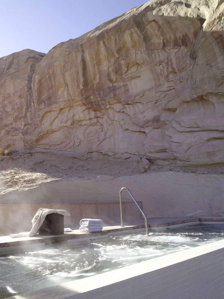 Outdoor jacuzzi at the Amangiri Luxury Hotel Resort in Canyon Point Utah