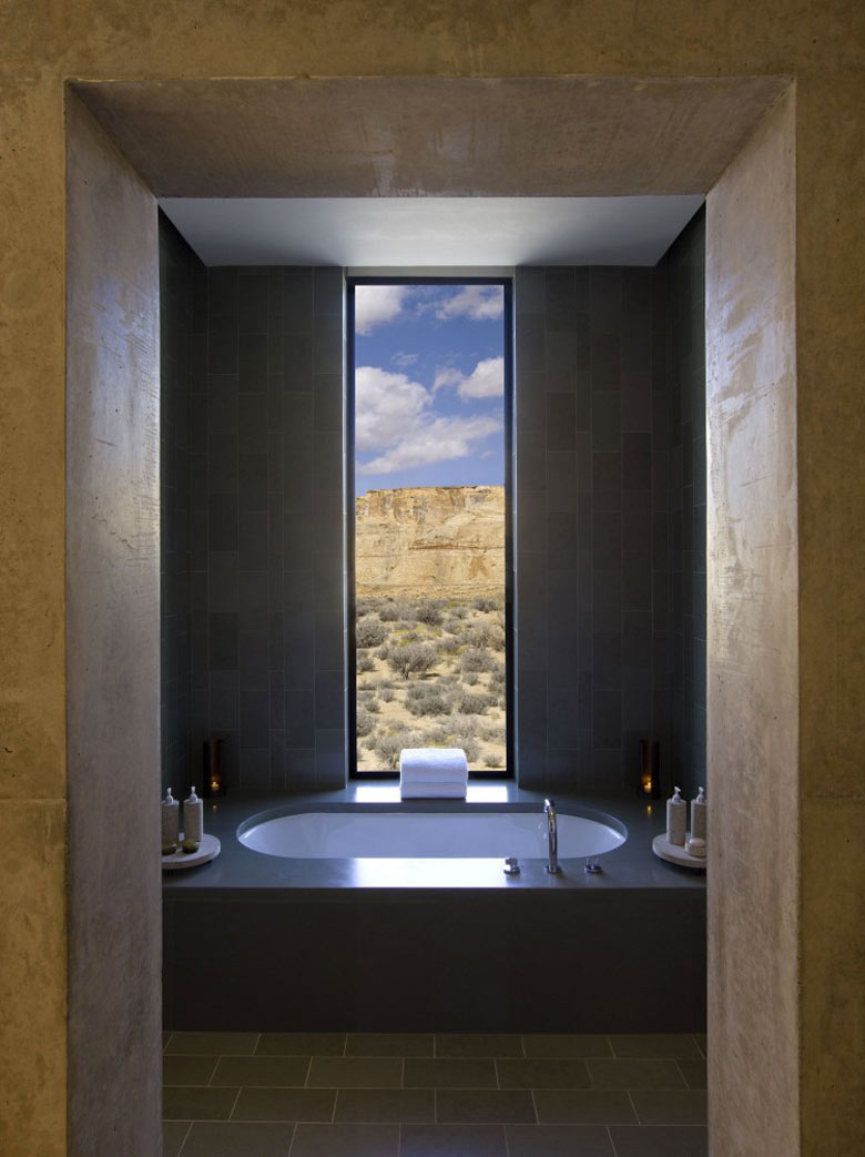 Bathtub with a view of the exterior at the Amangiri Luxury Hotel Resort in Canyon Point Utah