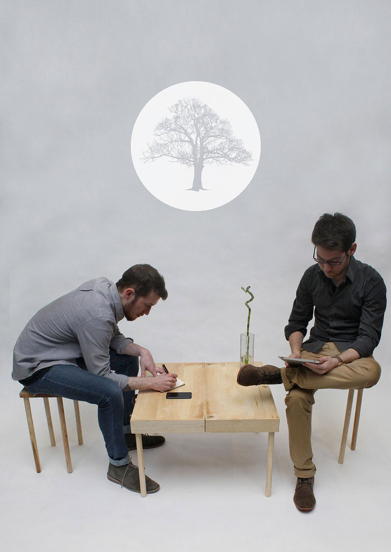 2 man using the BOXED Multi Functional Furniture by Tyrone Stoddart as a low table