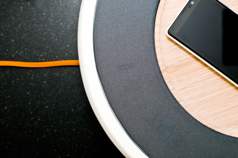 Power cord and view of the top of the Ceramic Speaker for Smartphones by Victor Johansson