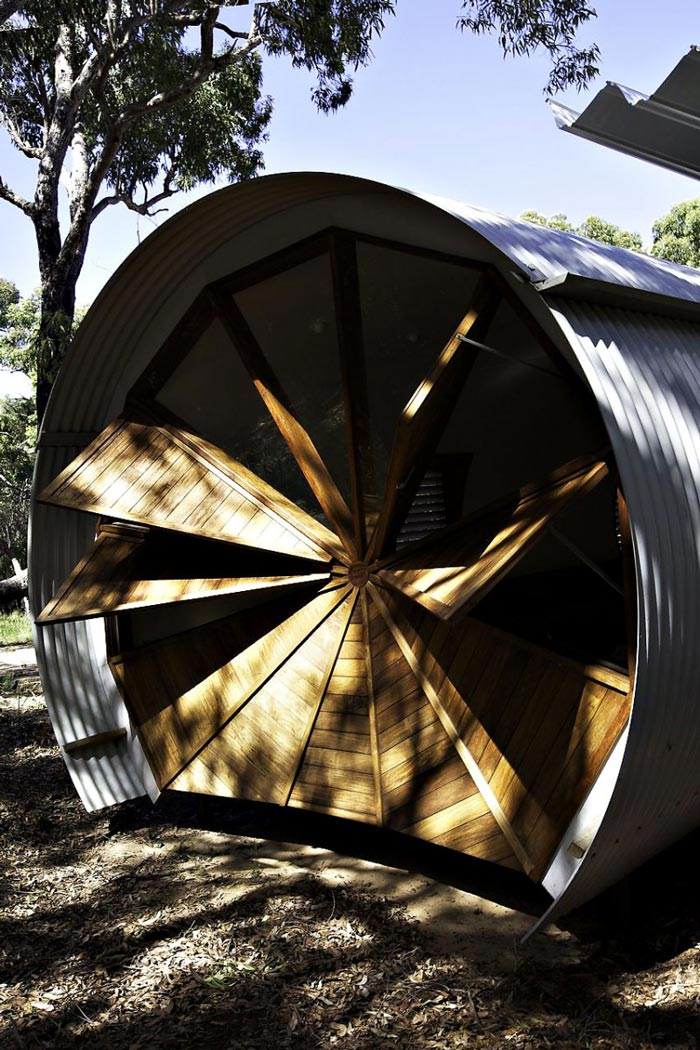 Wooden triangular ventilation at the Drew House by Simon Hills of Anthill Constructions
