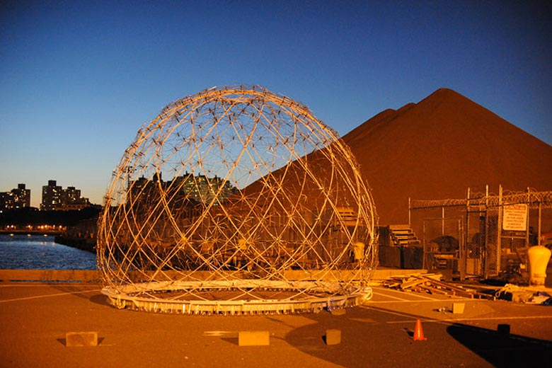 Floating Dome made of discarded umbrellas and plastic bottles by SLO Architecture in New York