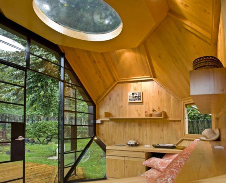 Wooden interior of the Habitable Polyhedron Garden Office by Manuel Villa
