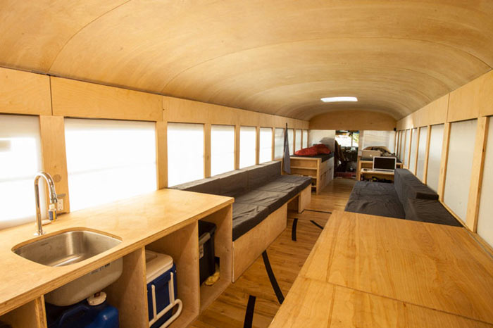 Interior design of Hank's converted school bus