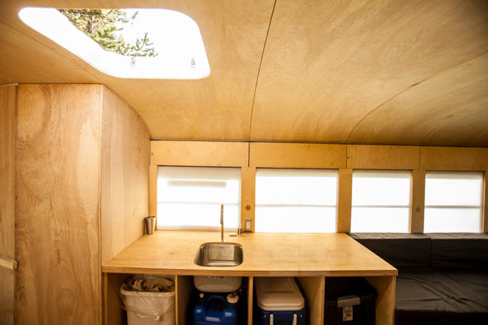 Kitchen sink and windows of Hank's converted school bus