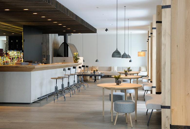 Dining area at the Hotel Wiesergut in Hinterglemm Austria by Gogl Architekten