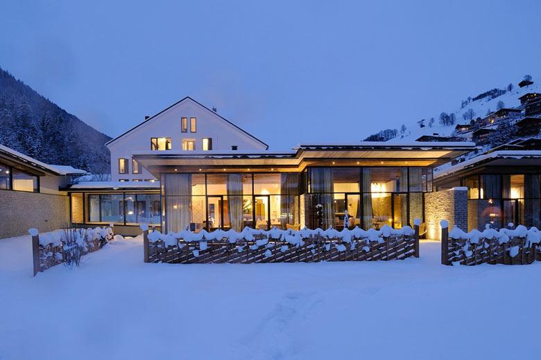 Facade of the Hotel Wiesergut in Hinterglemm Austria by Gogl Architekten