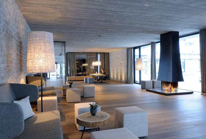 Lounge area at the Hotel Wiesergut in Hinterglemm Austria by Gogl Architekten