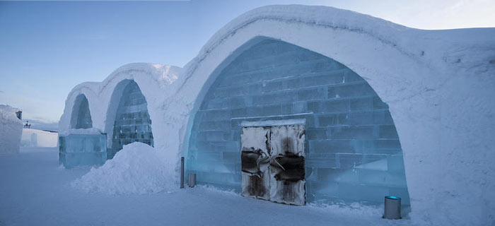 Exterior of the Icehotel An Ice Hotel in Jukkasjarvi Sweden