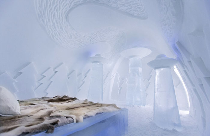 Interior design of a bedroom at the Icehotel An Ice Hotel in Jukkasjarvi Sweden