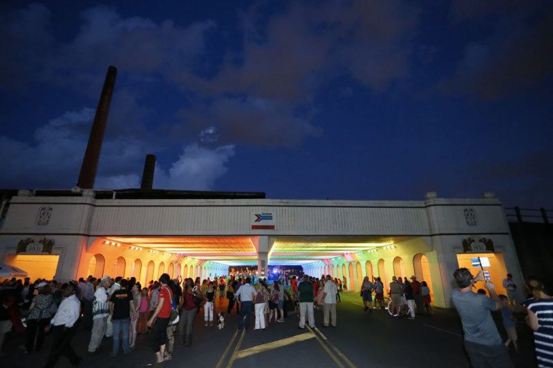 People gathered at the LightRails Underpass in Birmingham by Bill FitzGibbons