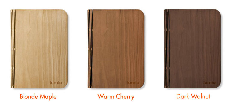 Dark Walnut, Warm Cherry and Blonde Maple colors of the Lumio LED Book Lamp