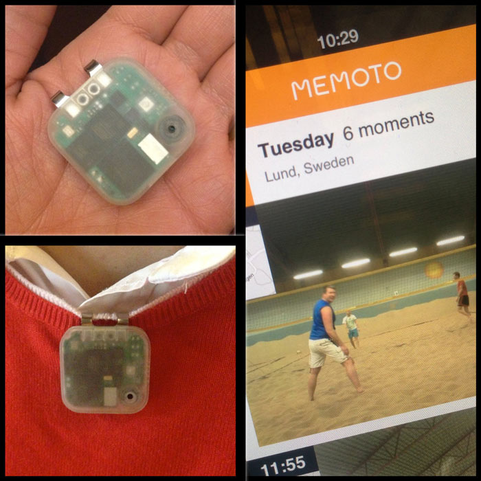 Transparent Memoto Wearable Camera and GPS