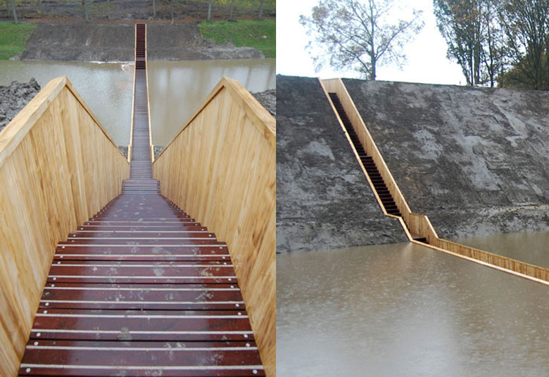 Stairs leading to the Moses Bridge, Sunken Bridge in The Netherlands