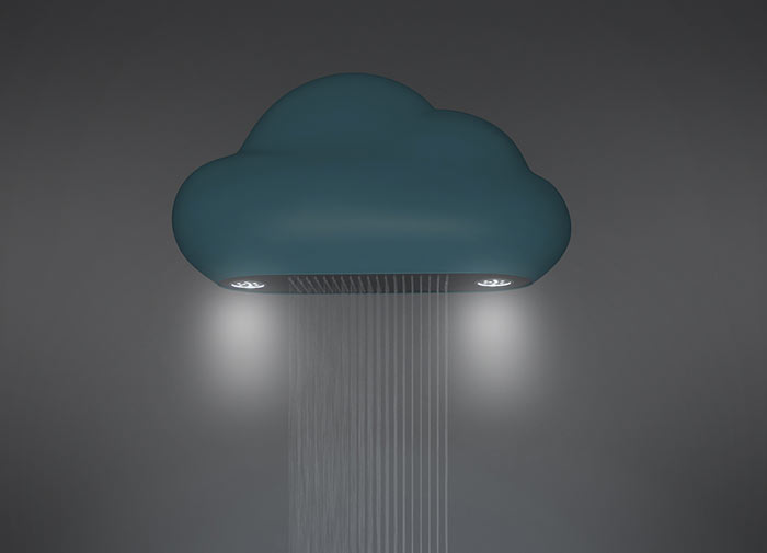 Blue Nube Shower head by Chuan Tey with the LED lights ON