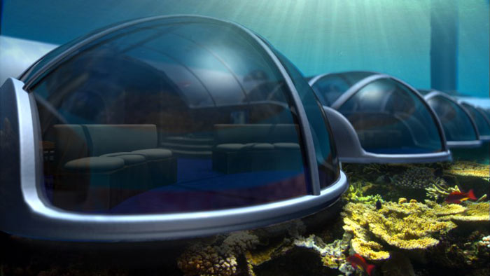 View of a capsule at the Poseidon Undersea Resort in Fiji