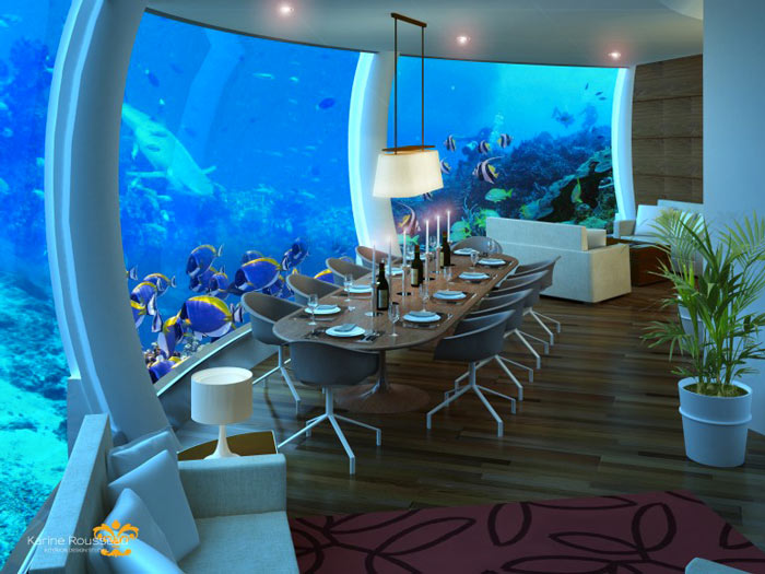 Dining area at the Poseidon Undersea Resort in Fiji