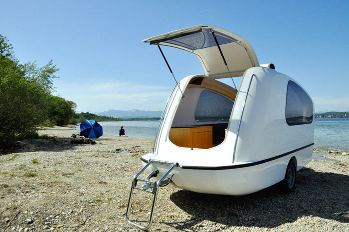SEALANDER Swimming Amphibious Caravan on a sandy beach