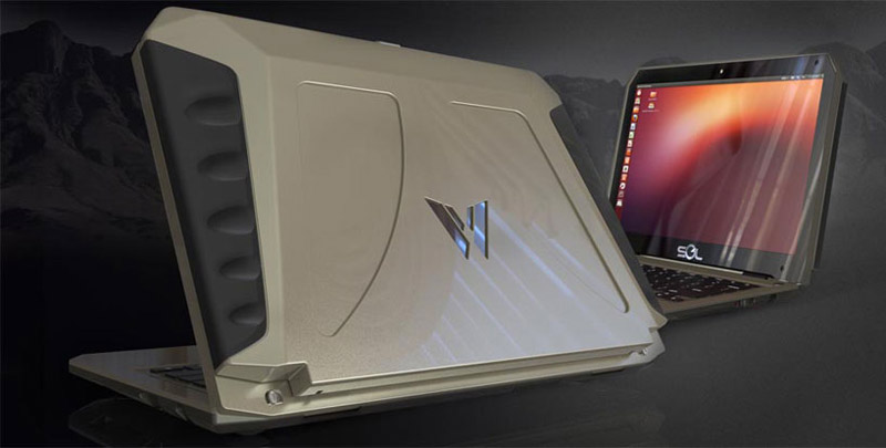 Solid construction of the SOL Solar Powered Laptop using Ubuntu Linux by WeWi