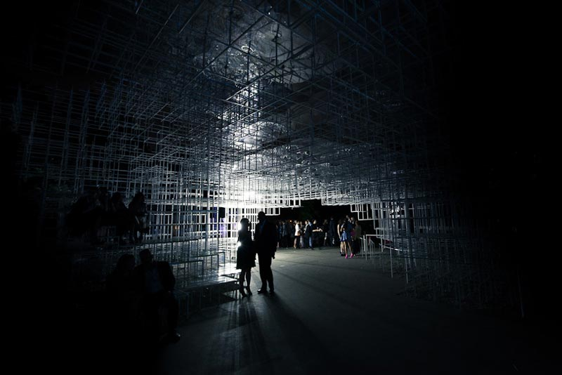 Serpentine Gallery Pavilion at night by Sou Fujimoto and UVA