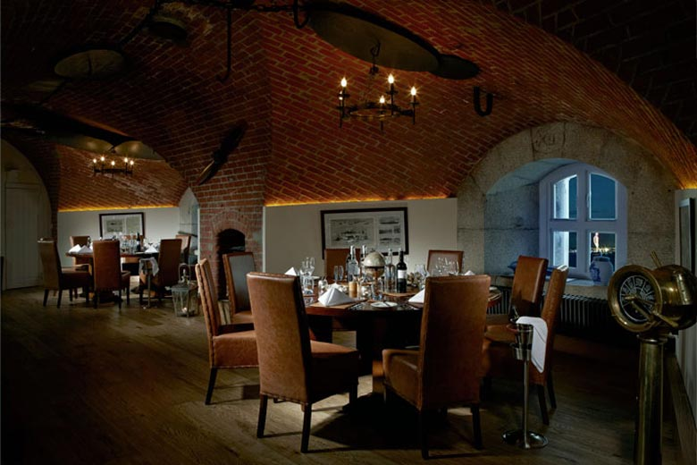 Dining room at the Spitbank Fort Hotel on the coast of Portsmouth England