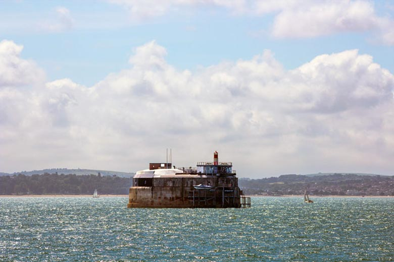 Exterior view of the Spitbank Fort Hotel on the coast of Portsmouth England