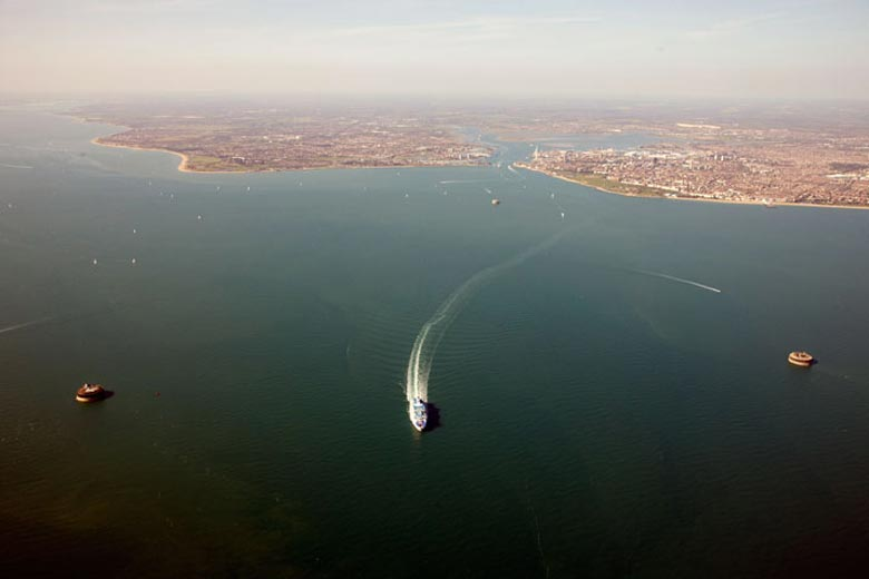 Aerial view of the coast of Portsmouth England