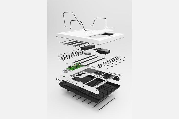 Parts of the Stack Trayless Inkjet Printer by Mugi Yamamoto