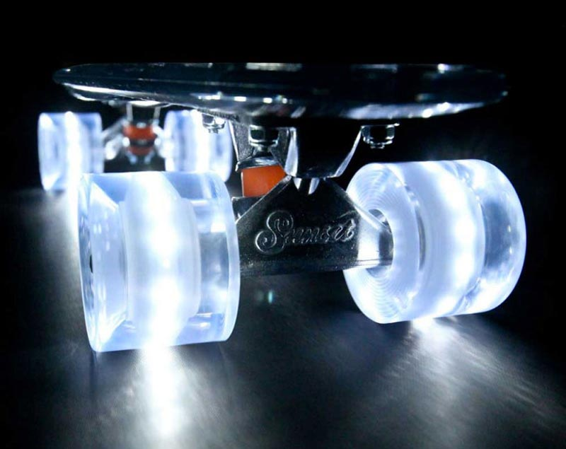 Transparent Sunset Skateboard LED Light Skateboard with transparent LED lights