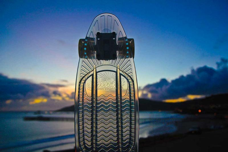 Transparent Sunset Skateboard LED Light Skateboard