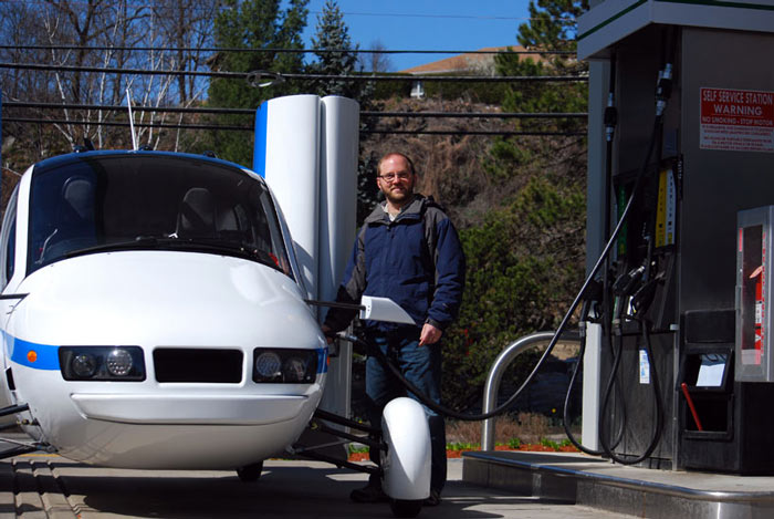 Terrafugia Transition Flying Car being fuelled at the gas station
