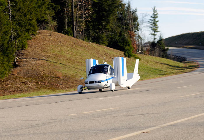 Terrafugia Transition Flying Car being driven on the road