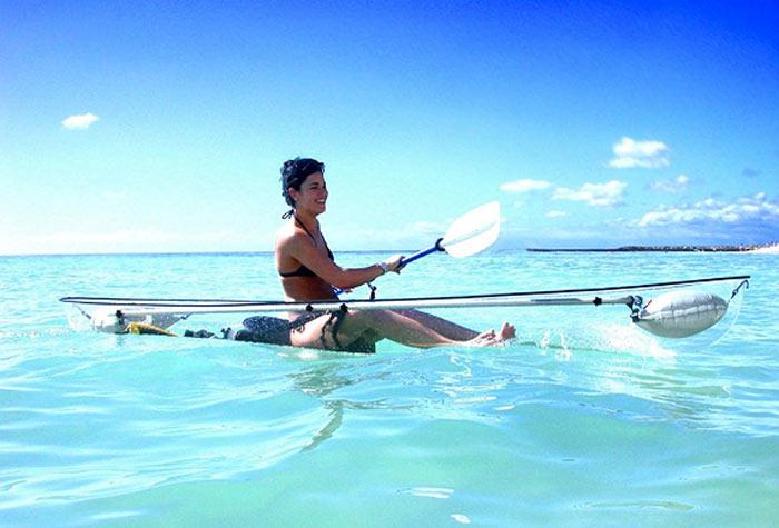 Woman on a Transparent Canoe Kayak by Hammacher