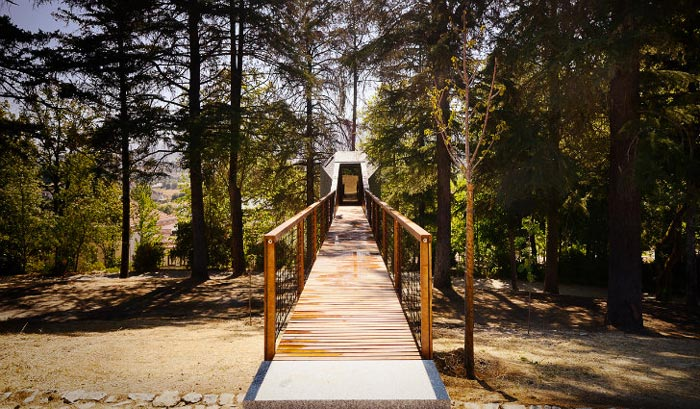 Ramp leading to the Tree Snake Houses in Pedra Salgadas Portugal
