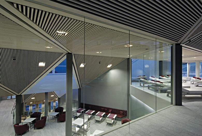 Lounge area at the Tschuggen Bergoase Wellness Spa Arosa Switzerland Swiss Alps by Mario Botta Architetto