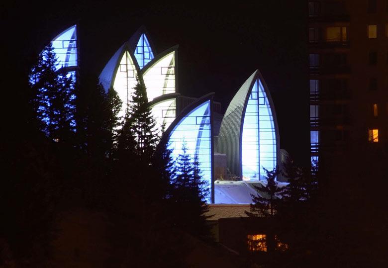 Exterior view of the Tschuggen Bergoase Wellness Spa Arosa Switzerland Swiss Alps by Mario Botta Architetto