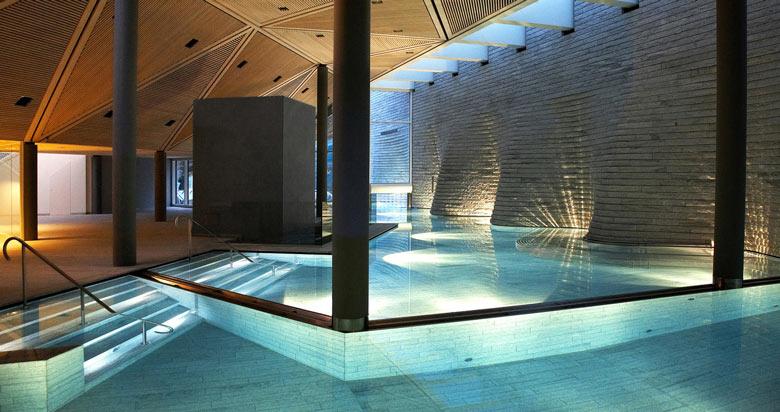 Swimming pool at the Tschuggen Bergoase Wellness Spa Arosa Switzerland Swiss Alps by Mario Botta Architetto
