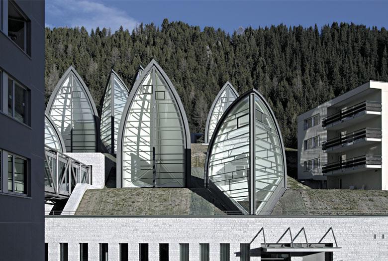 Architecture of the Tschuggen Bergoase Wellness Spa Arosa Switzerland Swiss Alps by Mario Botta Architetto