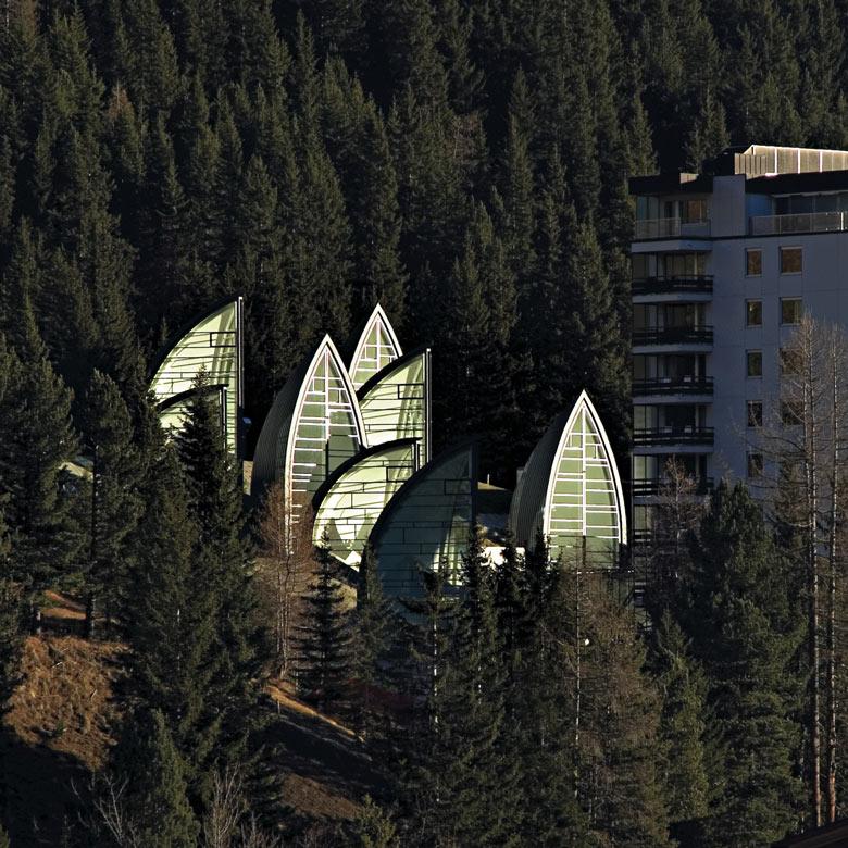 Aerial view of the Tschuggen Bergoase Wellness Spa Arosa Switzerland Swiss Alps by Mario Botta Architetto