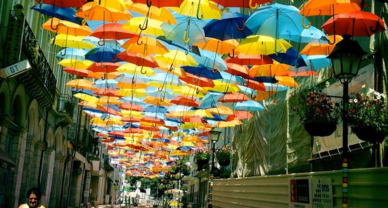 Umbrella installation in the Streets of Agueda Portugal on Jebiga