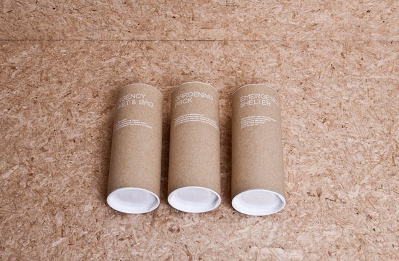 3 cardboard containers from the Urban Survival Pack by Ryan Romanes