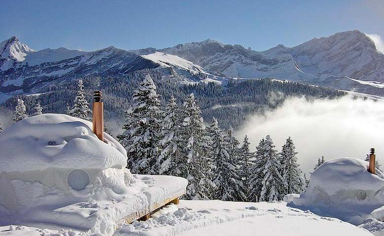 View and scenery of the landscape from the Whitepod Hotel in the Swiss Alps in Switzerland