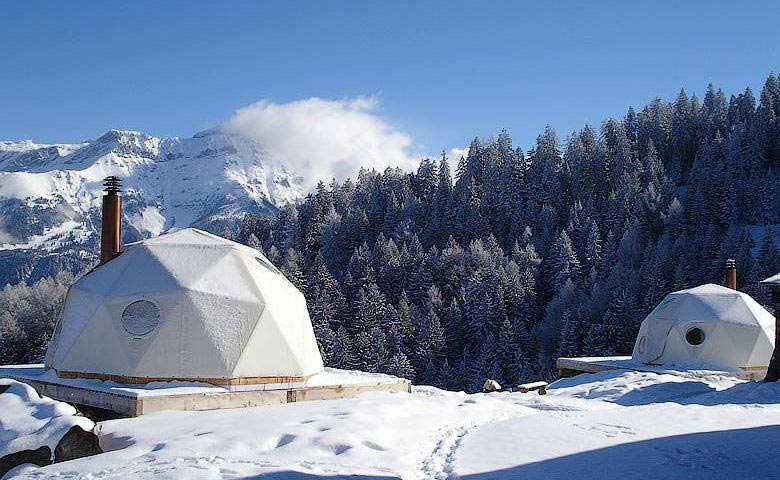 Whitepod Hotel in the Swiss Alps in Switzerland during winter