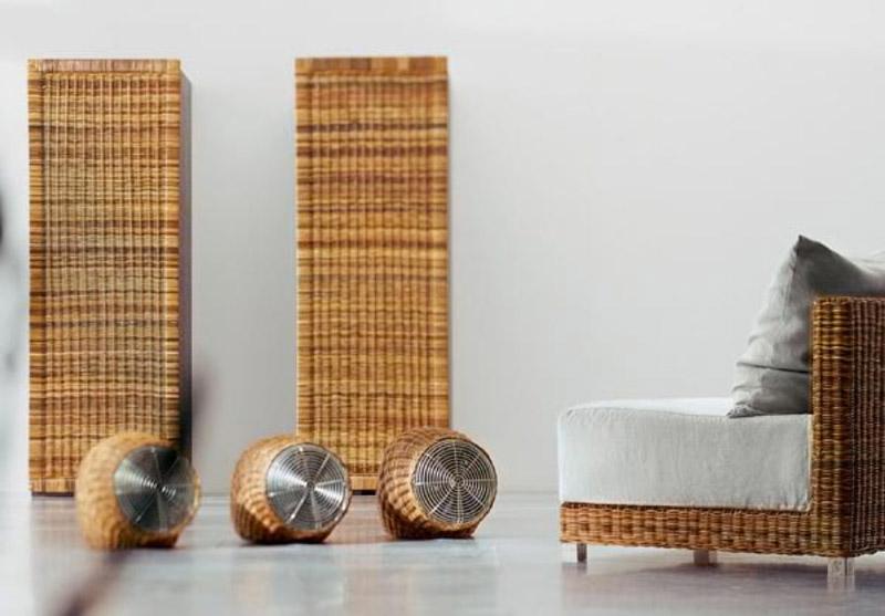 Wind Wicker Fan by Gervasoni surrounded by wicker furniture