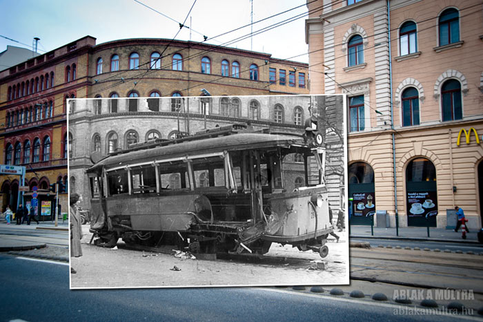 Ablak a Multra A Window to the Past with an exploded cable car in Budapest