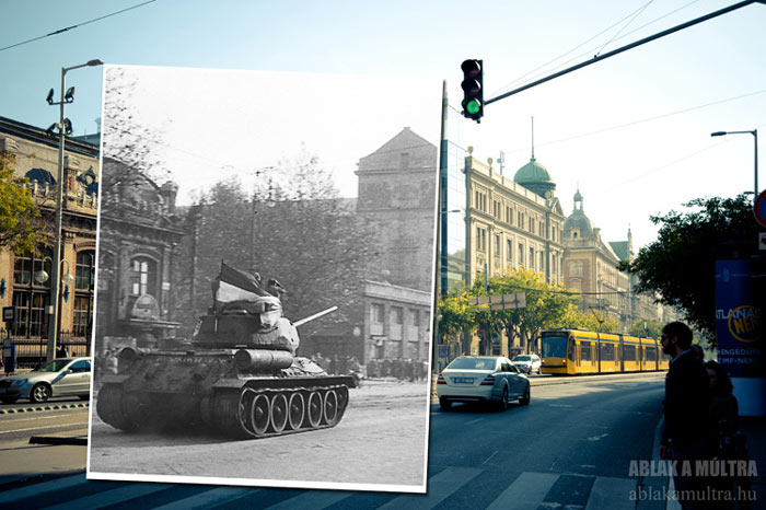 Ablak a Multra A Window to the Past with a tank on a boulevard in Budapest